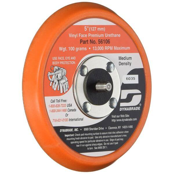 Dynabrade Vinyl-Face 3/8-Inch Thick Urethane Medium Density 5/16-Inch-24 Male Thread 5-Inch Diameter Non-Vacuum Disc Pad