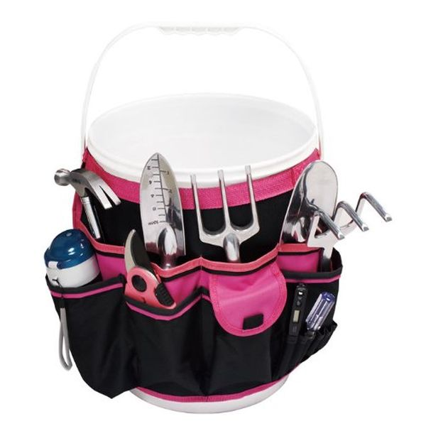 Apollo Precision Tools 5-Gallon Bucket Garden Tool Organizer, Black/Pink