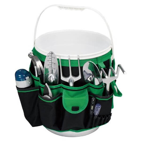 Apollo Precision Tools 5-Gallon Bucket Garden Tool Organizer, Black/Green