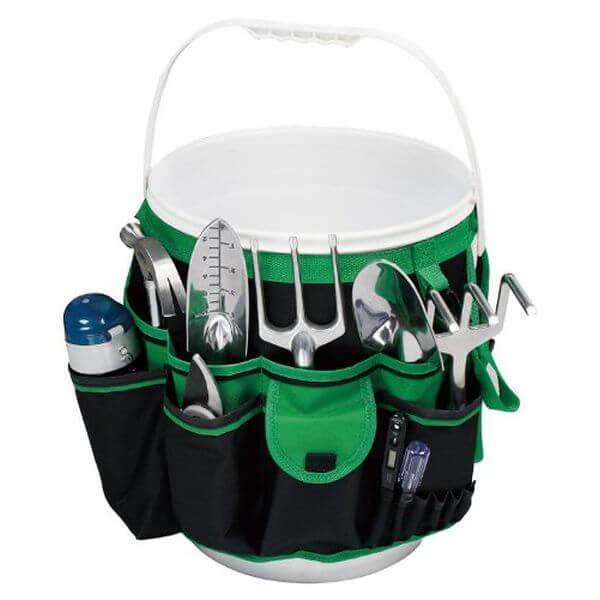 Apollo Precision Tools 5-Gallon Bucket Garden Tool Organizer, Black/Green