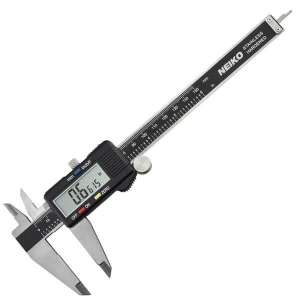 Neiko Stainless Steel 6-Inch Digital Caliper with Extra-Large LCD Screen and Instant SAE-Metric Conversion