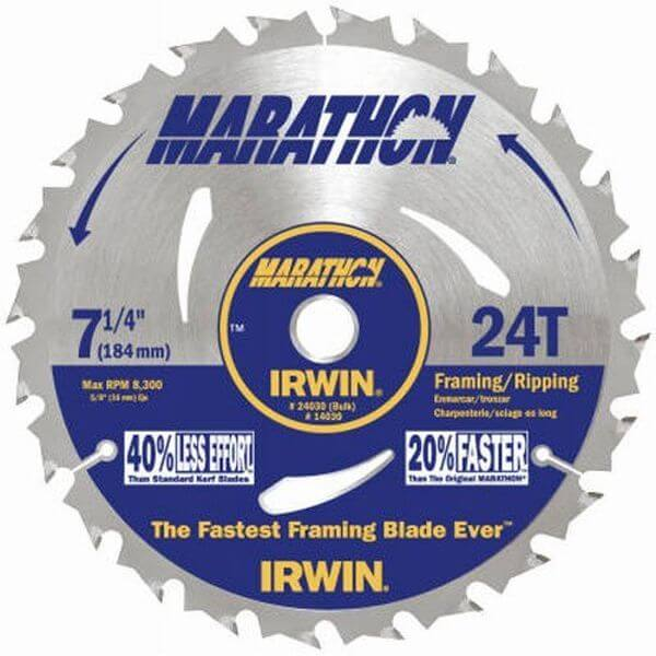 Irwin Marathon 7-1/4-Inch 24 Tooth ATB Framing and Ripping Saw Blade with 5/8-Inch and Diamond Knockout Arbor