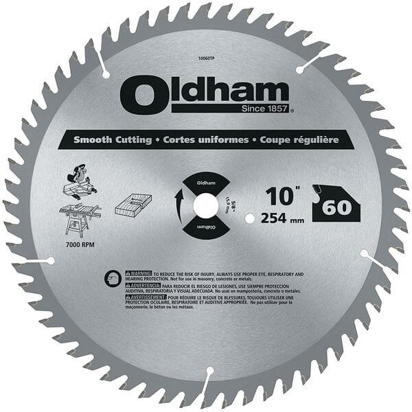 Oldham All Purpose 10-Inch 60 Tooth ATB Crosscutting and Ripping Saw Blade with 5/8-Inch Arbor
