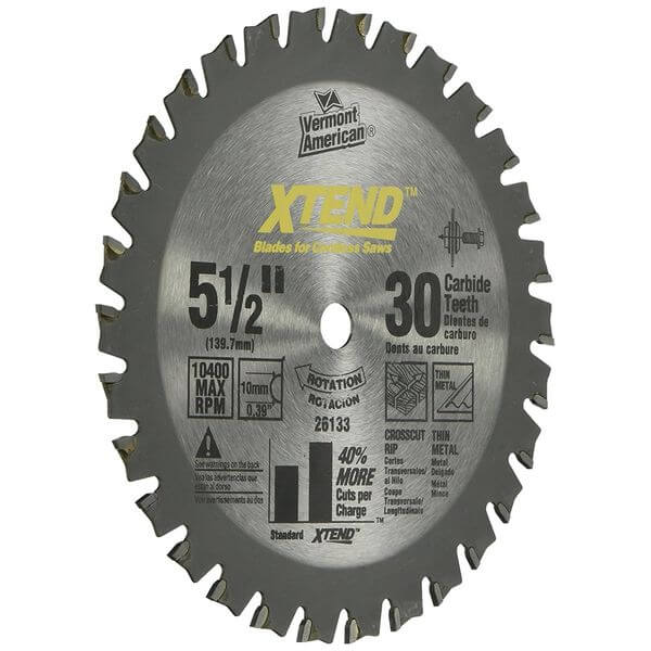 Vermont American 10mm Arbor 5-1/2-Inch 30 Tooth Xtend Fine Finish Cordless Circular Saw Blade