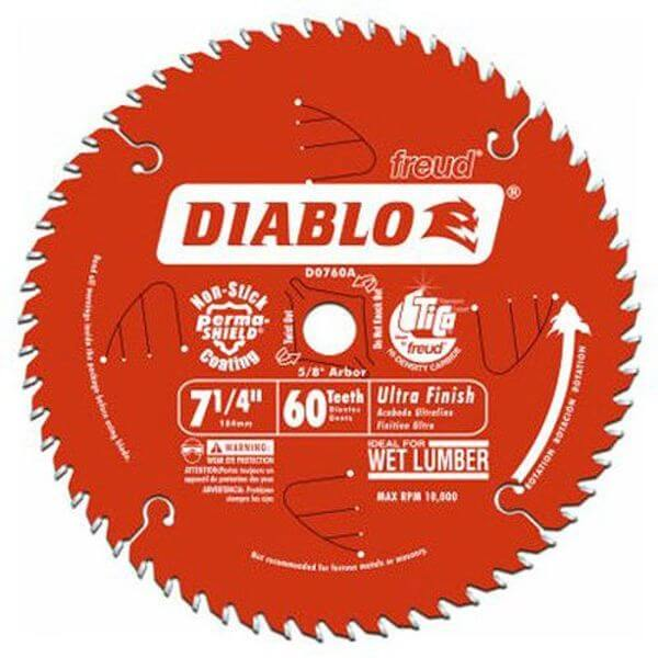 Freud Diablo Ultra Finish Saw Blade ATB 7-1/4-Inch by 60t 5/8-Inch Arbor