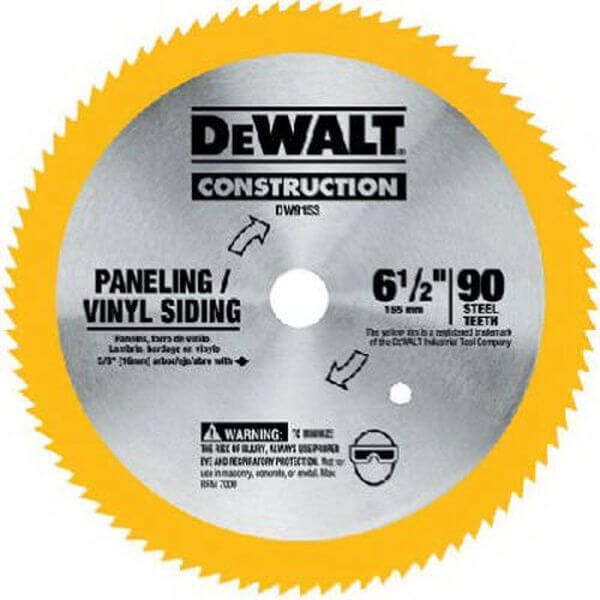 DEWALT 6-1/2-Inch 90 Tooth Paneling and Vinyl Cutting Saw Blade with 5/8-Inch Arbor