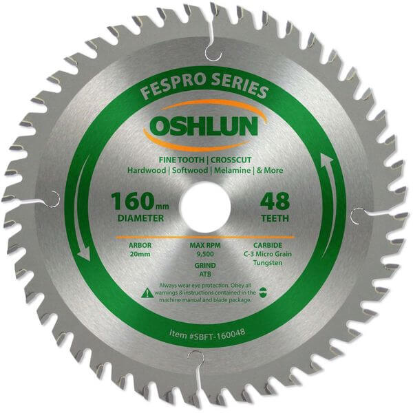 Oshlun 160mm 48 Tooth FesPro Crosscut ATB Saw Blade