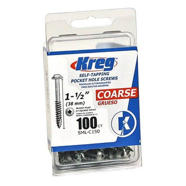Kreg Pocket Screws 1-1/2-Inch, 8 Coarse, Washer-Head, 100-Count