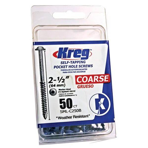 Kreg Blue-Kote WR Pocket Screws 2-1/2-Inch, 8 Coarse, Washer-Head, 50-Count