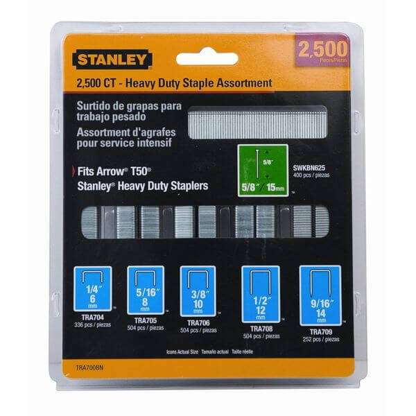Stanley Heavy-Duty Staple & Brad Assortment, Pack of 2500