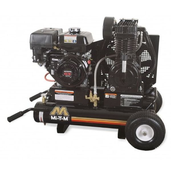 Mi-T-M Portable Air Compressor, 8-Gallon, Two Stage with Gasoline