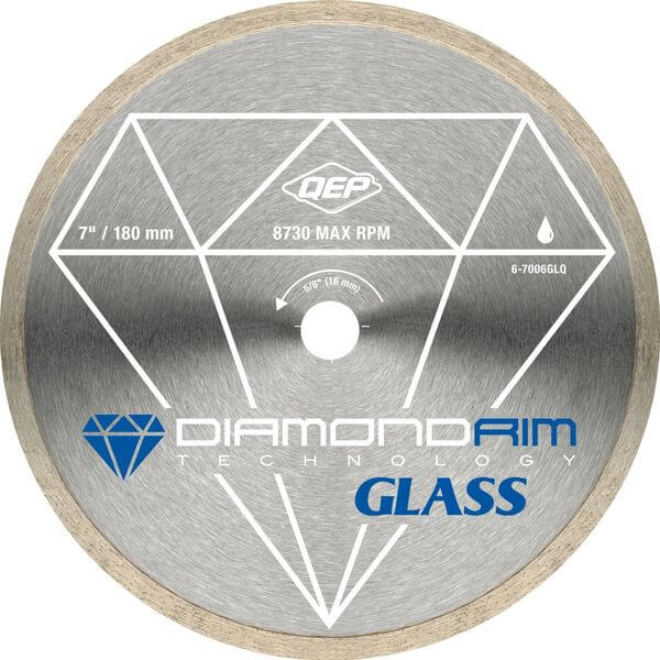 QEP 7-Inch Glass Tile Diamond Blade, 7mm Continuous Rim, 5/8-Inch Arbor, Wet Cutting, 8730 Max RPM