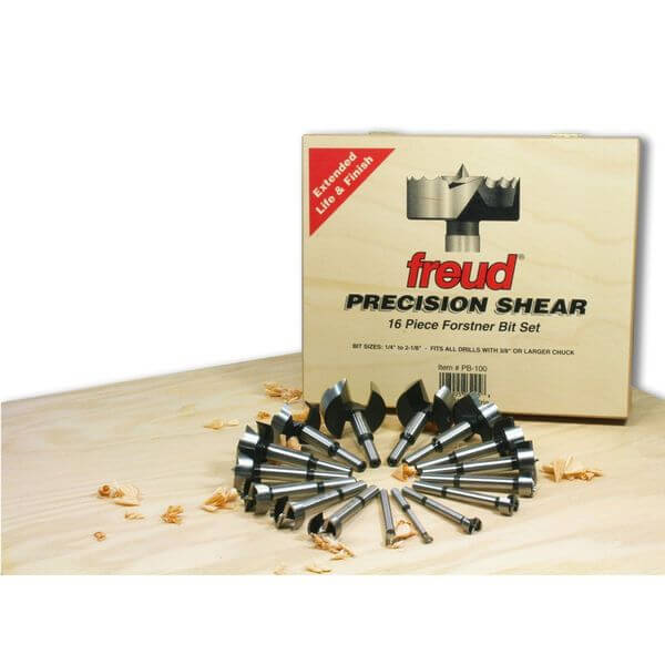 Freud Precision Shear 16 Piece 1/4-Inch to 2-1/8-Inch Serrated Edge Forstner Drill Bit Assortment