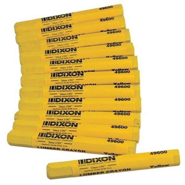 Dixon Lumber Crayon, Permanent, Yellow, 12-Count