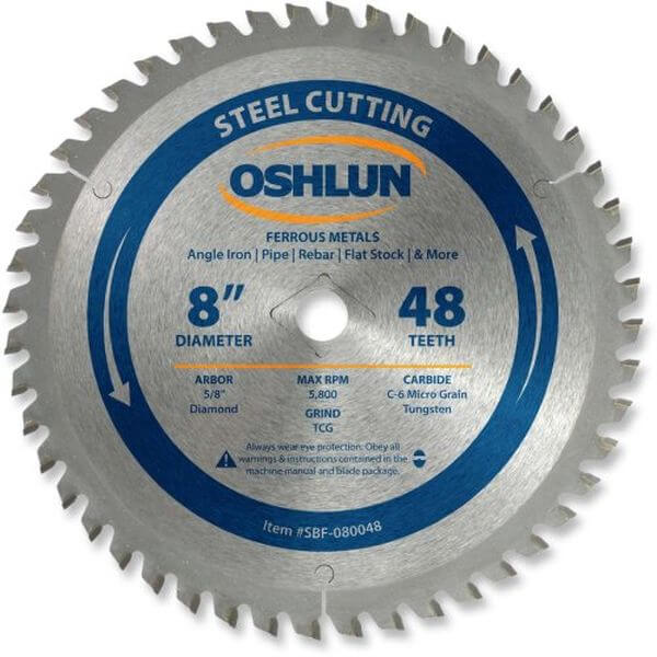 Oshlun 8-Inch 48 Tooth TCG Saw Blade with 5/8-Inch Arbor (Diamond Knockout) for Mild Steel and Ferrous Metals