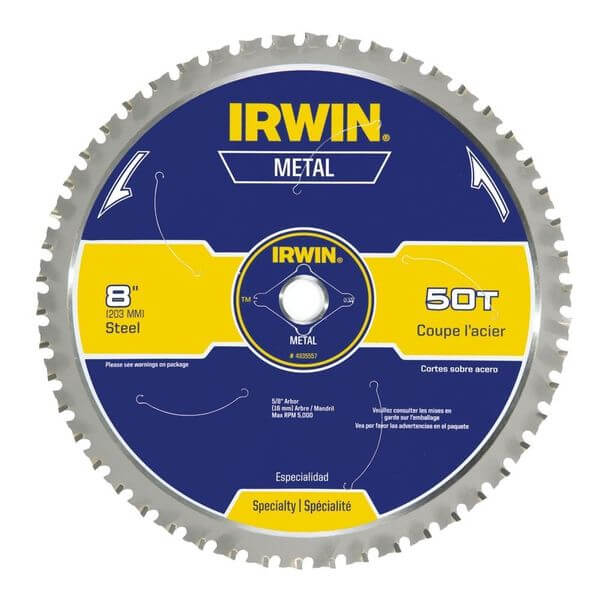 Irwin Industrial Tools 8-Inch 50-Tooth Metal Cutting Circular Saw Blade for Ferrous Steel