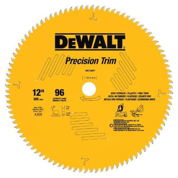 DEWALT Precision Trim 12-Inch 96 Tooth ATB Crosscutting Saw Blade with 1-Inch Arbor