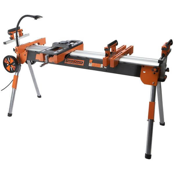 HTC Portamate Folding Miter Saw Power Tool Stand with Wheels, Light, Vise and 110V Power Outlet