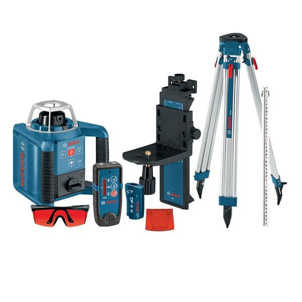 Bosch Self-Leveling Rotary Laser with Layout Beam Complete Kit with Receiver, Remote, Tripod and Wall Mount