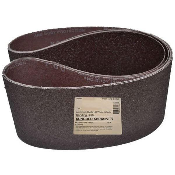 Sungold Abrasives 6-Inch by 48-Inch 80 Grit Sanding Belts Premium Industrial X-Weight Aluminum Oxide, 3-Pack