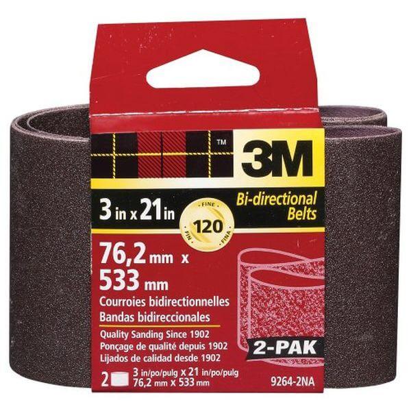 3M Heavy Duty Power Sanding Belts - Fine, 120g, 3-Inch by 21-Inch 2-pack