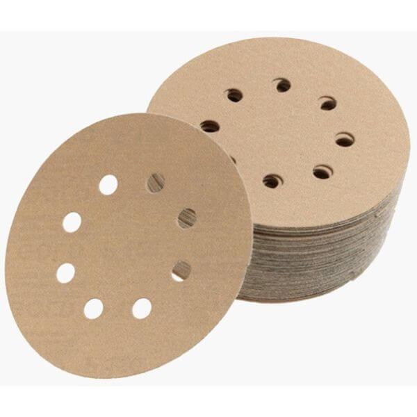 Mirka 5-inch 8-Hole 80 Grit Dustless Hook & Loop Sanding Discs - 50 Pack