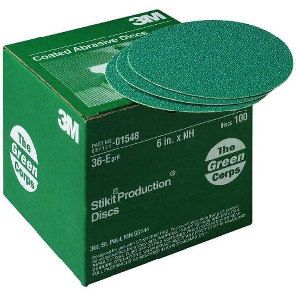 3M Green Corps Stikit 6-inch 36E Grit Production Disc