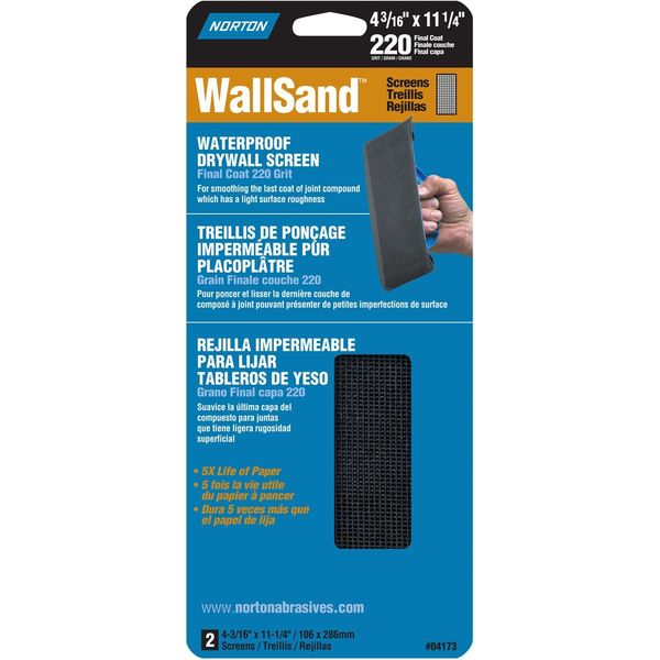 Norton Wallsand 220 Grit Die-Cut Drywall Screen Sanding Sheet, 4-3/16-Inch Wide x 11-Inch Long, 2-Pack