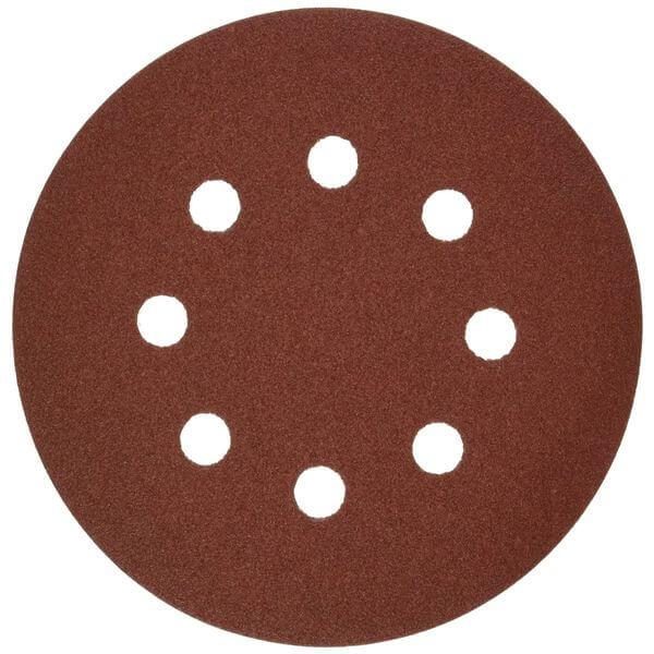 Bosch Random Orbit Sander Hook and Loop 8 Hole Disc 5-Inch 120 Grit Sand Paper, Red, 5-Pack