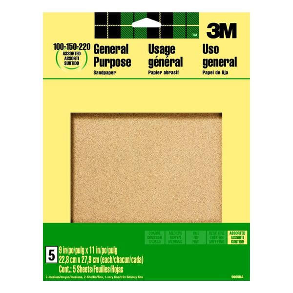 3M 9-Inch by 11-Inch Aluminum Oxide Sandpaper, Assorted