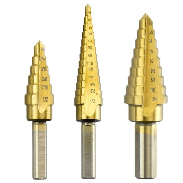 Neiko 3-Piece Titanium Step Drill Bits Set M2 Steel - 28 Sizes, SAE