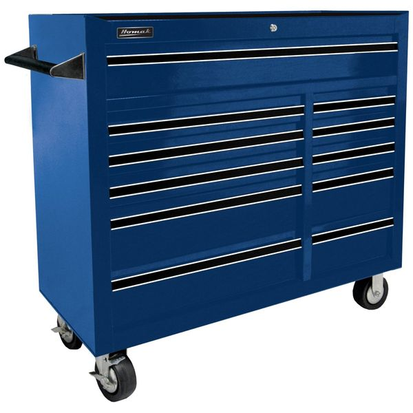 Homak 41-Inch Pro Series 11 Drawer Rolling Cabinet, Blue