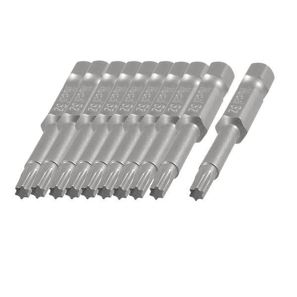 10 Pcs 1/4-inch x 50mm x 4.5mm x 3mm T15 Magnetic Torx Screwdriver Bits